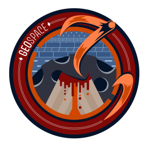 GeoSPACE Field Project logo. A stylized wheelchair icon made of comet tails with a background with a volcano, the moon, and sedimentary rock layers.