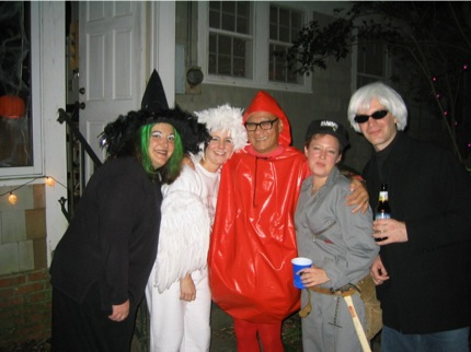 Witch Pam, Carrie (escaped pigeon), me (intestinal tumor), Jessica tool girl, Dave Warhol, Halloween 2003