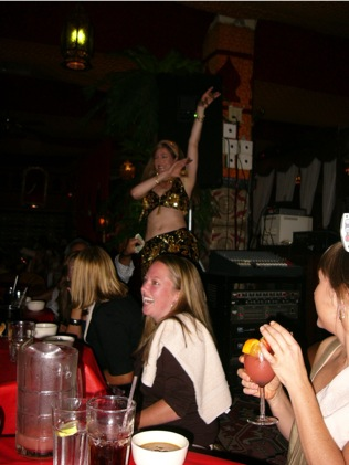 Jessica (foreground) deciding whether to try out as belly dancer, ABA Atlanta 2006