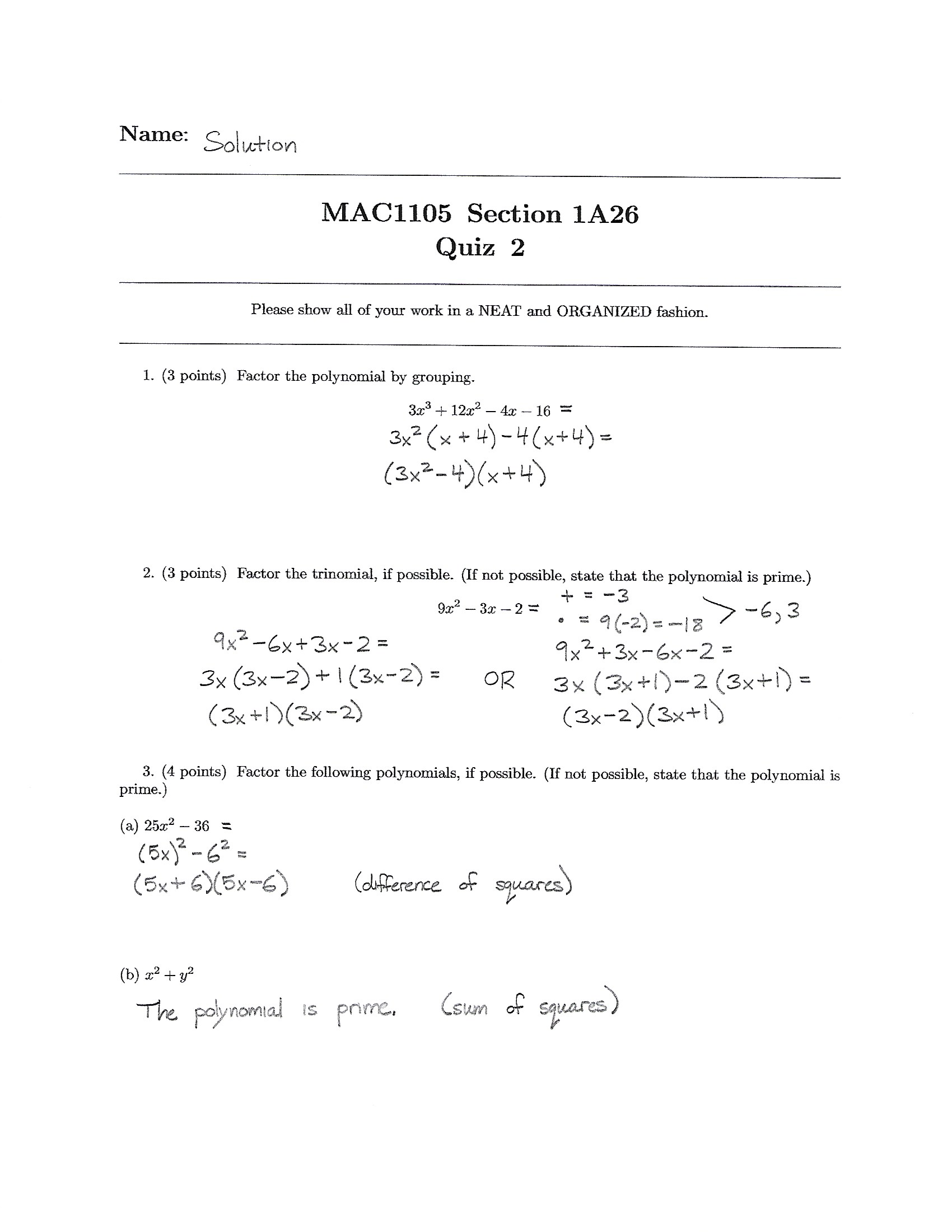 Fall 2017 – MAC 1105 – Basic College Algebra | Jasmine Robinson