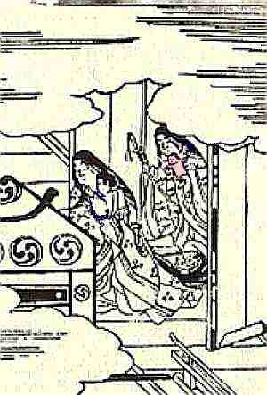Chapter 19 (Seidensticker p. 335) Genji's infant daughter travels to the city with her protective doll. The lady in front carries the child, the lady in back the sword and doll.