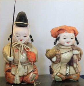 These dolls represent two vital gods, Daikoku who presides over rice and Ebisu the fisherman.  In various formats they are important figures to own.