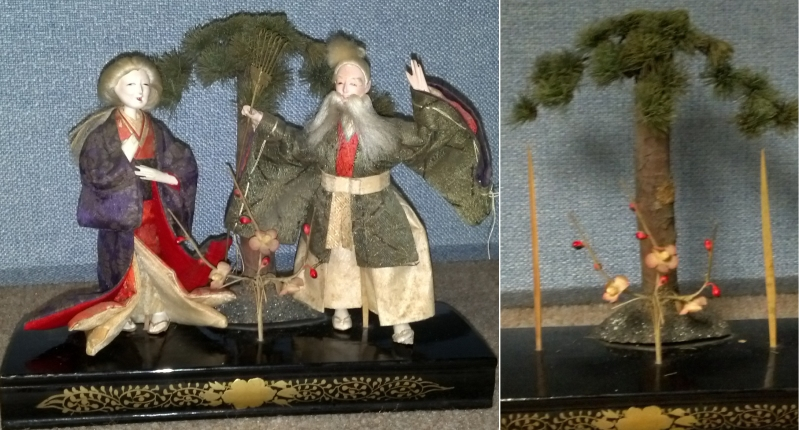 Jo and Uba, a hina tableau of an elderly couple appropriate for many festivals. The scene is constructed using many natural materials, and the dolls are inserted on sticks.