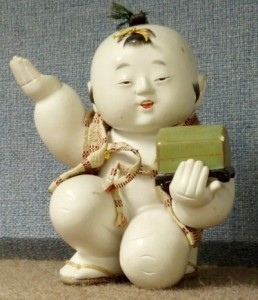 This 20th-c gosho doll is a good example of gofun applied over toso (wood composition).