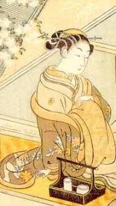 Suzuki Haronubu, woodblock illustration to  The Elegant Amorous Adventures of Maneemon, around 1765.