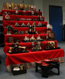A 7-step hina-dan with the 15 dolls, plus a Takasago pair, and a full-size version of the dolls' dining-table.