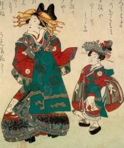 An 1864 print by Utagawa Kunisada, depicting an oiran and her kamuro.