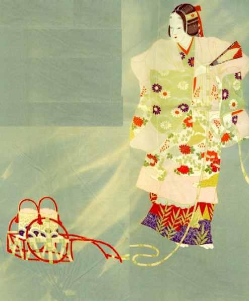 A silk furoshiki depicting the Noh play Matzukaze.
